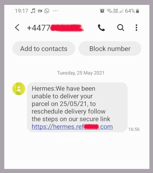 Example Smishing SMS